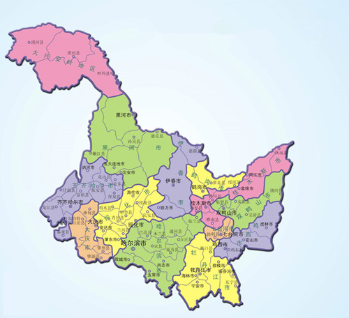 齐齐哈尔行政地图