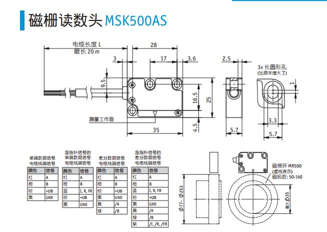 SIKO磁栅尺MSK500AS机械参数: 外壳 锌压铸件 读数头/磁柵尺读数间距 0.1 ... 2 mm 适用于 O,I型参考点信号 0.4 ... 1 mm 适用于 FR 型参考点信号 读数头/磁柵尺读数间距 0.1 ... 2 mm 0.1 ... 1 mm 电缆外壳材料 PVC 4, 5, 6, 8 芯 SIKO磁栅尺MSK500AS电气参数: 工作电压 5 .